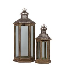 Wooden/Metal Lantern Set of Two