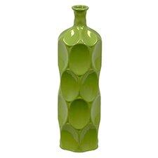 Ceramic Bottle Vase LG Dimpled Gloss White