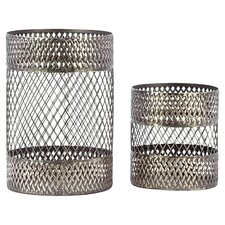 2 Piece Metal Candle Holder Set