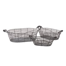 3 Piece Metal Basket Set I