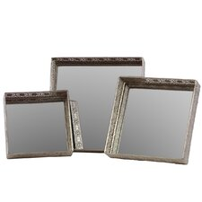 Metal Mirrored Tray 3 Piece Set in Chrome Silver