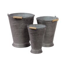 Metal Buckets with Wooden Handles Set of Three Ribbed Zinc