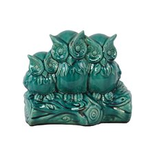 Ceramic Owls on a Stump Gloss White