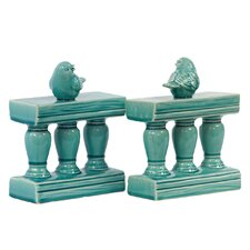 Ceramic Bird on Banister Bookend Gloss Turquoise (Set of 2)