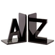 Wood AZ Bookend Set of Two Coated Taupe Gray (Set of 2)
