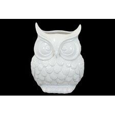 Ceramic Owl Vase Gloss White