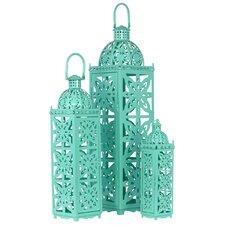 3 Piece Metal Lantern with Handle Set