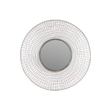 "Metal Circular Mirror with Concave Mesh Design Frame Dark Gray 16""D"