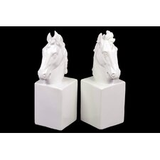 Ceramic Horse Head on Rectangular Box Bookend Gloss White (Set of 2)