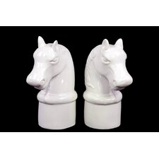 Ceramic Horse Head on Cylindrical Base Bookend Gloss White (Set of 2)