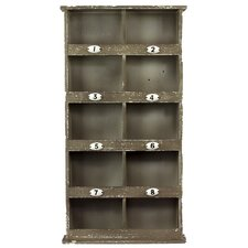 Wood Wall Mail Organizer with 8 Numbered Shelves and 2 Shelves Weathered Wood Finish