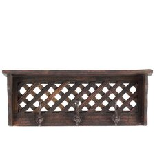 Wooden Shelf/Coat Hanger LG Smoked Wood Finish