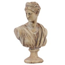 Cement Greek Deity Artemis Bust on a Pedestal MD Matte White