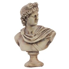 Cement Greek Deity Apollo Bust on a Pedestal MD Matte White
