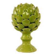 Porcelain Artichoke on a Pedestal SM Gloss Yellow Green