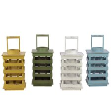 Wooden Lantern Set of Four Assorted Colors