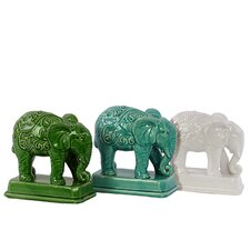 Ceramic Elephant Decor Three Piece Set (Set of 3)