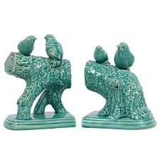 Ceramic Birds Standing on a Stump Gloss Turquoise (Set of 2)
