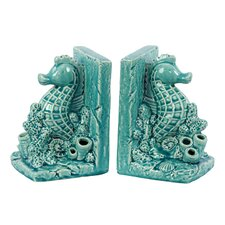 Ceramic Sea Horse Bookend (Set of 2)