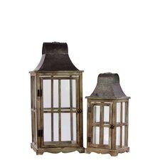 Wooden / Metal Lantern Set of Two