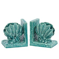 Ceramic Sea Shell Bookends (Set of 2)