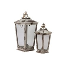 <strong>Urban Trends</strong> 2 Piece Wooden Lantern Set