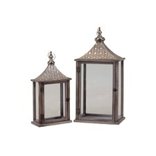2 Piece Wooden / Metal Lantern Set