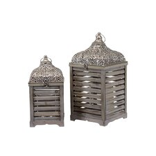 <strong>Urban Trends</strong> 2 PieceWooden / Metal Lantern Set