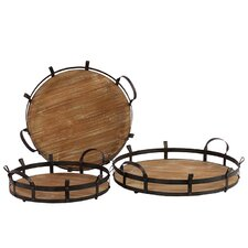 Wooden/Metal Tray  Set of Three (Set of 3)