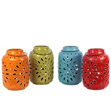 <strong>Urban Trends</strong> 4 Piece Ceramic Lantern Set