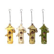 Ceramic Bird House Set of Four Colors (Set of 4)