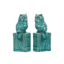 Ceramic Owl Bookends (Set of 2)