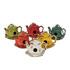 Home and Garden Accents Tea Pot Decorative Bird Feeder (Set of 6)