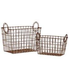Metal Wire Basket with Metal Handles Set of Two Dark Gray (Set of 2)