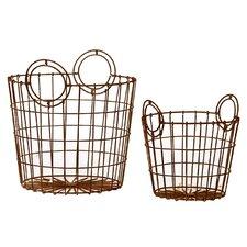 2 Piece Wire Basket Set in Dark Gray (Set of 2)
