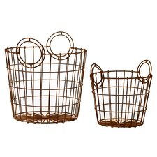 Metal Wire Basket with Metal Handles Set of Two Dark Gray (Set of 2)