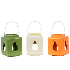 Ceramic Lantern with Pear Cut-Out Set of Three