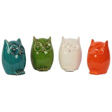 Ceramic Owl Assorted Color Four Piece Set