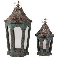 Wooden Lantern Set of Two (Set of 2)