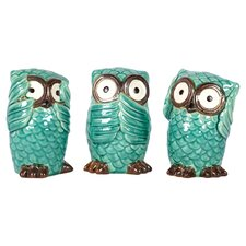 Ceramic Owls Three Piece Set