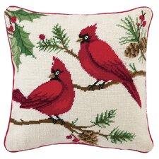 Winterberry Cardinals Needlepoint Pillow