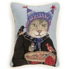 Hat Cat Needlepoint Pillow