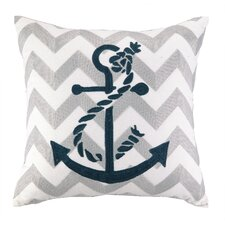 Nautical Embroidery Anchor Pillow