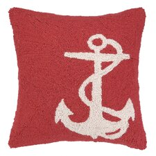 Nautical Hook White Anchor Pillow