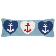 Nautical Hook Anchor Hearts Pillow