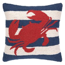 Nautical Hook Crab Stripe Pillow