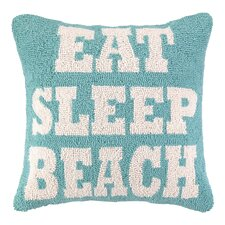Nautical Hook Eat Sleep Beach Pillow