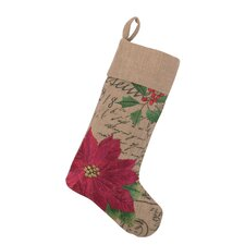 Poinsettia Burlap Stocking