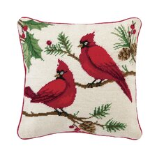 Winterberry Cardinals Needlepoint Pillow