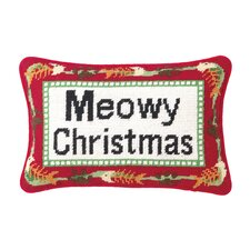"""Meowy Christmas"" Needlepoint Blown Pillow"